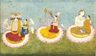 brahma,_vishnu_and_shiva_seated_on_lotuses_with_their_consorts,_ca1770.jpg